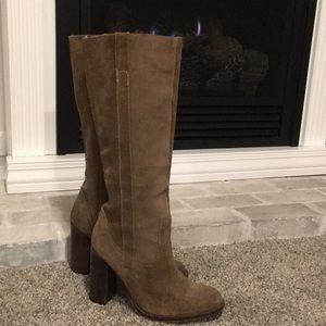 "Steve Madden distressed suede boots (tan) 4"" heel"